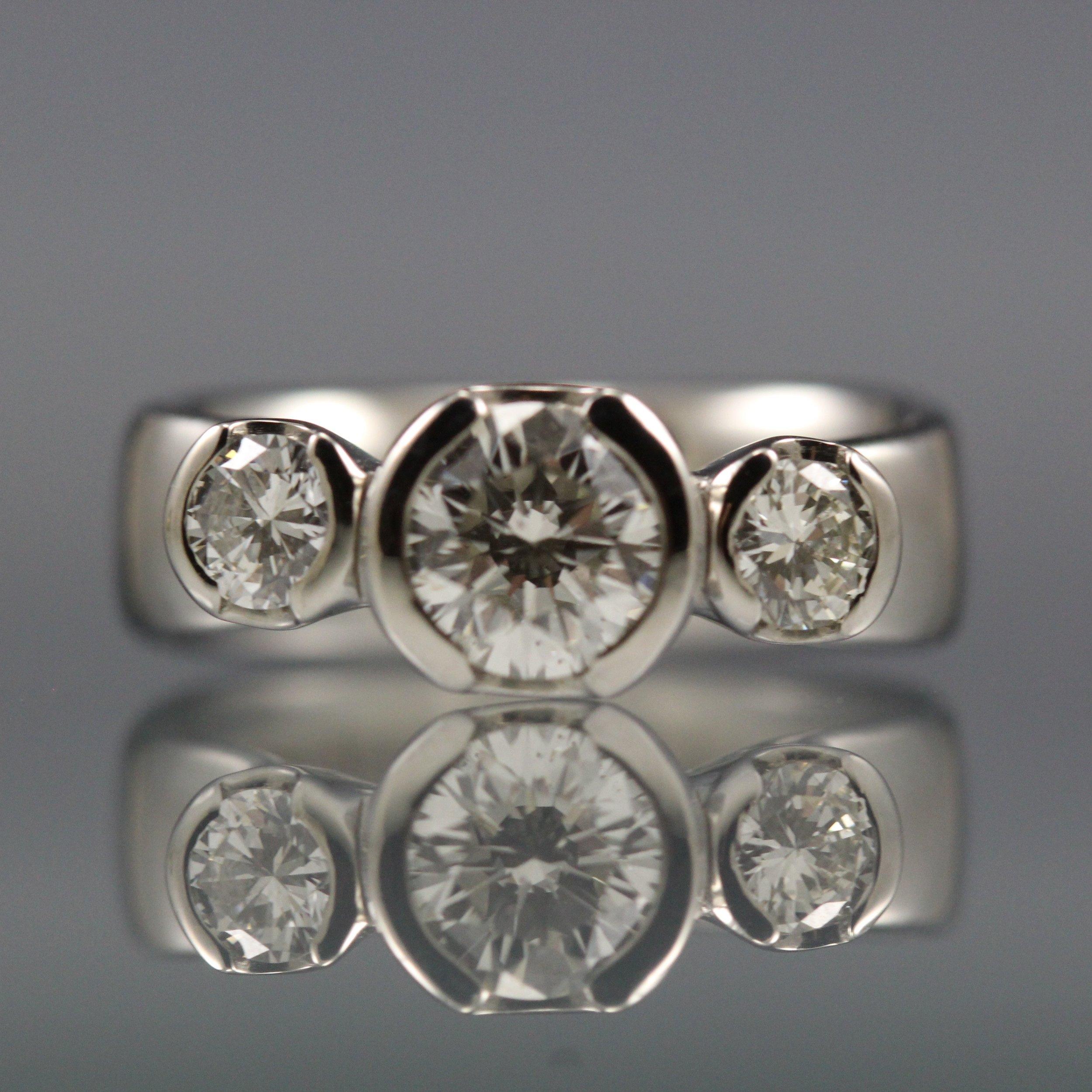 Custom made palladium and diamond ring made by Danielle Miller Jewelry