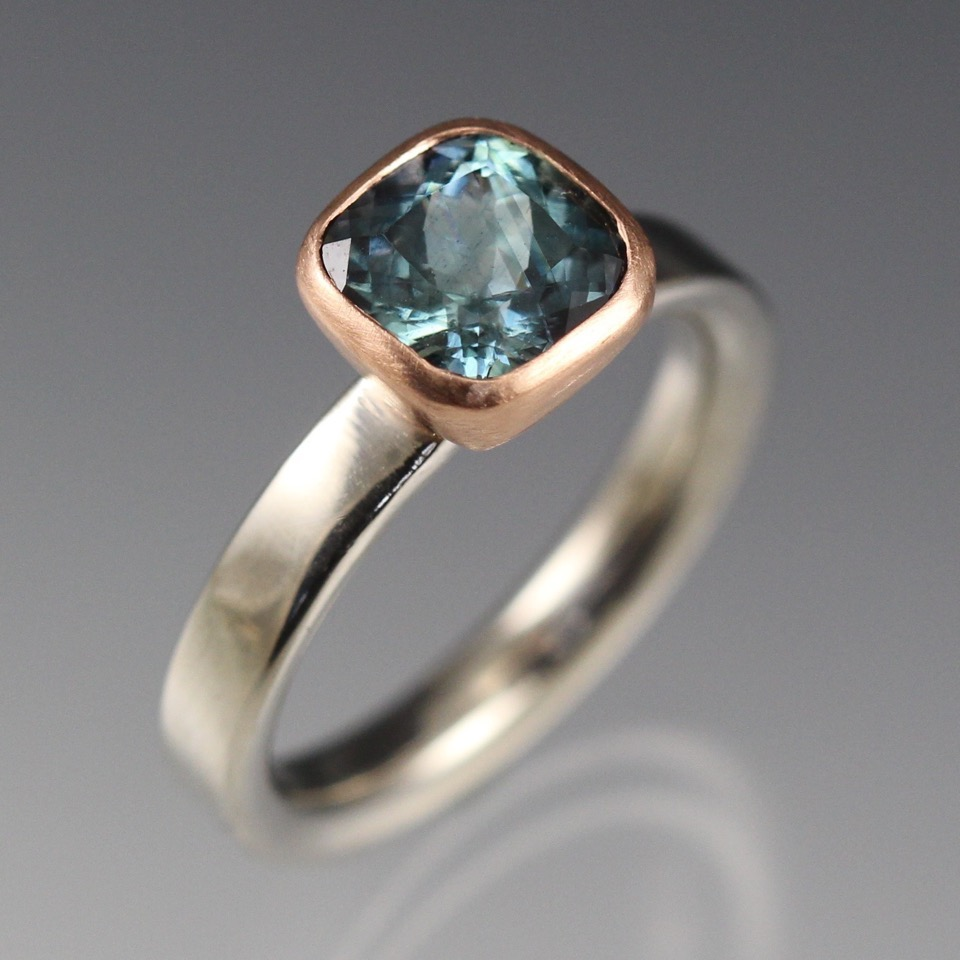 Malawi teal sapphire, 14k rose gold &palladium engagement ring made by Danielle Miller jewelry