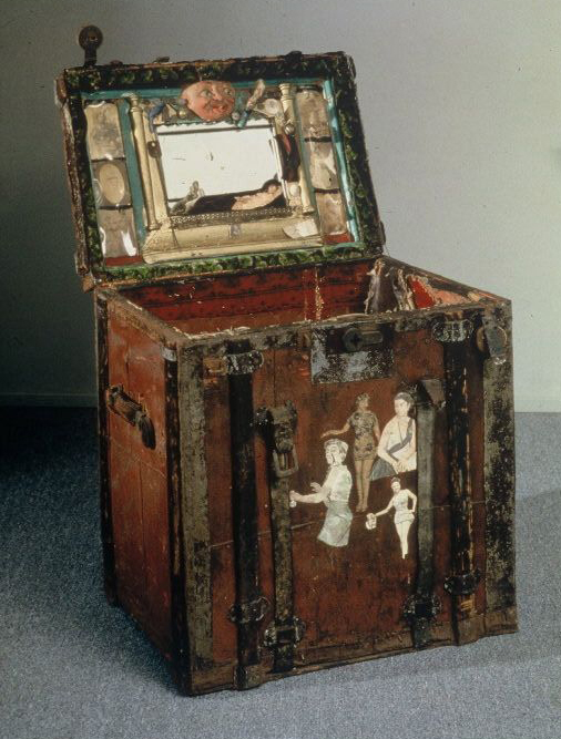 Abraham Linkoln Hall, vaudeville entertainer's trunk, with photographs, lucky charms, and a mirror.  1920s