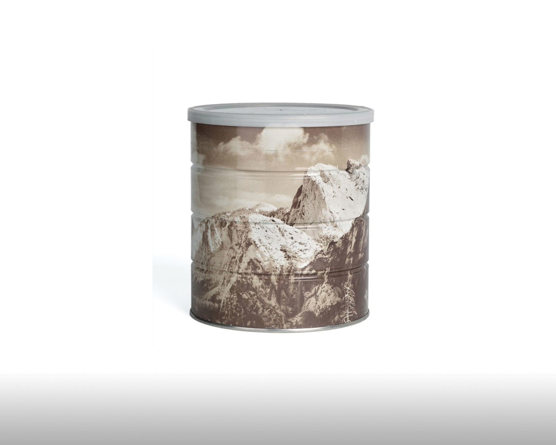 Ansel Adams: Hills Brotherscoffeecan with wraparound image of Yosemite. 1969