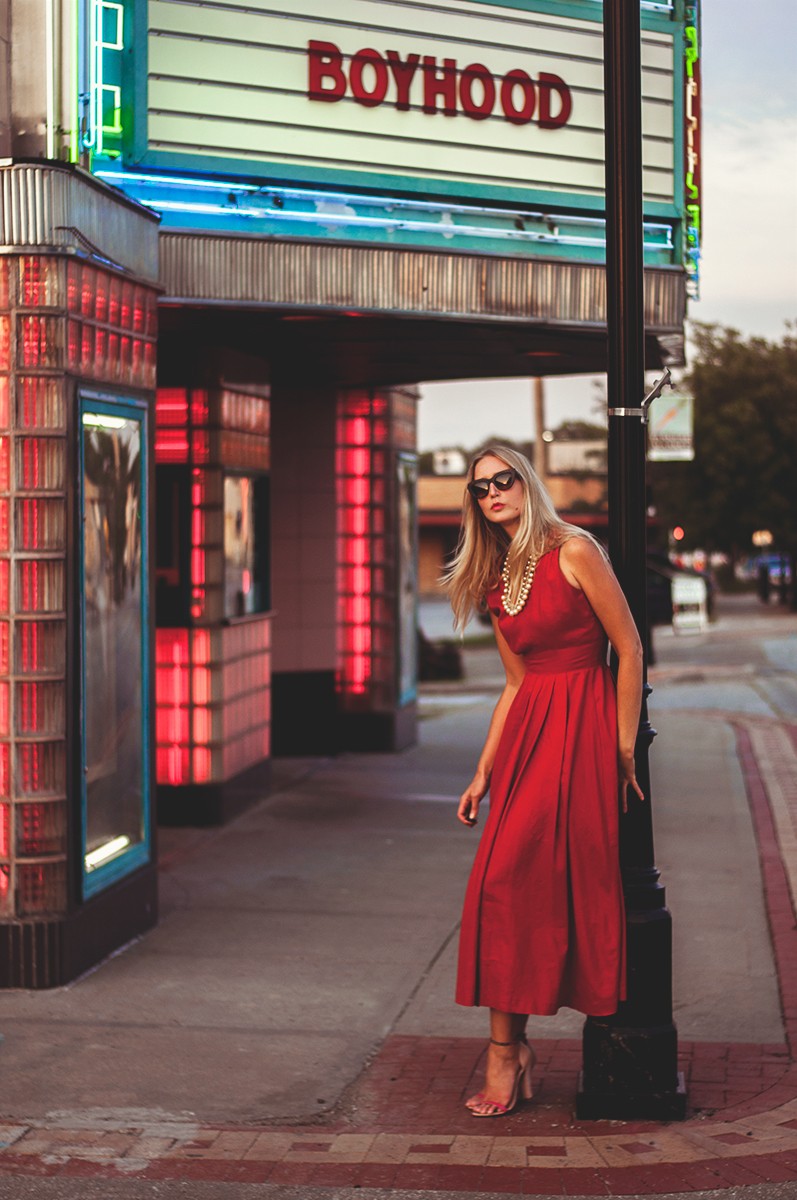 Red Linen Dress with J Crew Jewelry