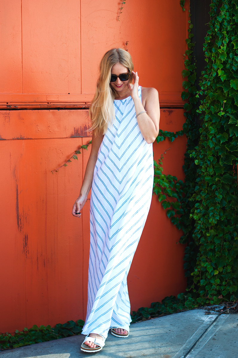 J Crew Linen Chevron Maxidress