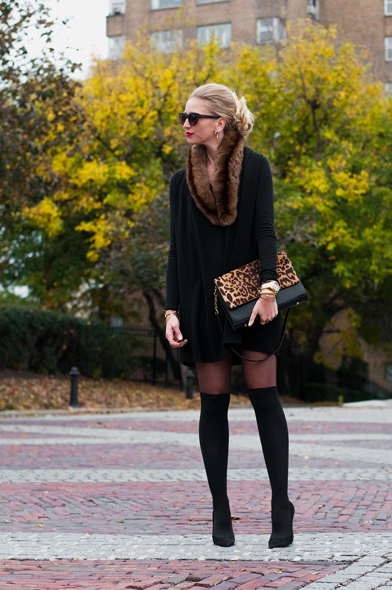 ASOS Black Swing Dress with V Neck