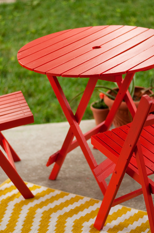 Freshly Painted Outdoor Table and Chairs