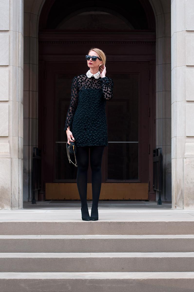 Peter Pan Collar Black Dress