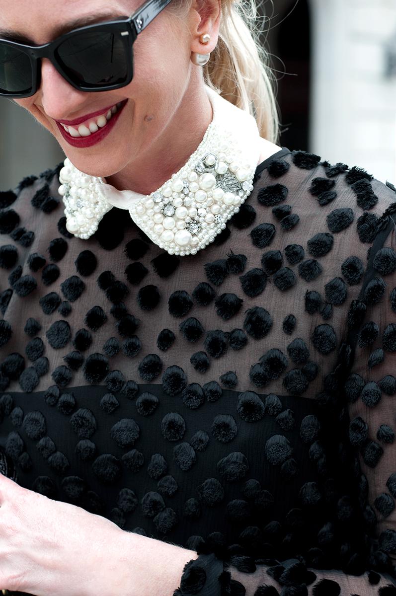 Zara Jeweled Peter Pan Collar