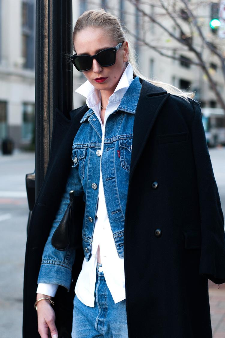 Black Vintage Pendleton Jacket Layered with Denim