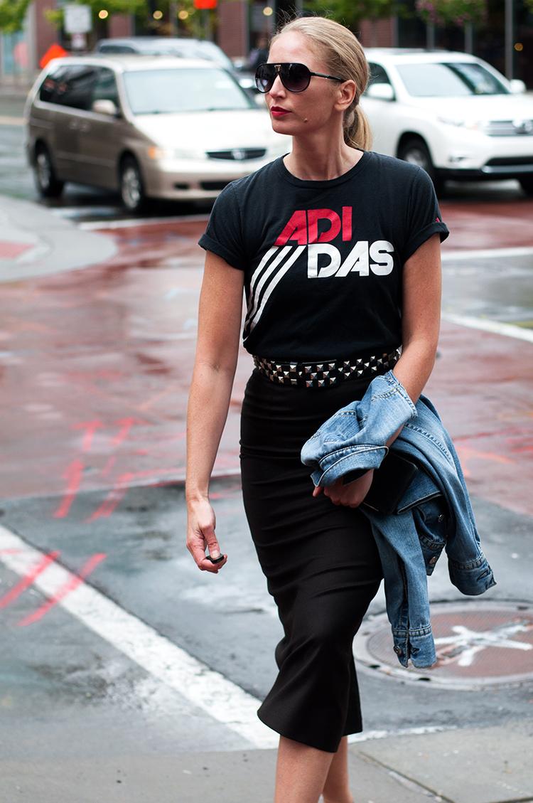 Vintage Adidas T Shirt with Studded Belt