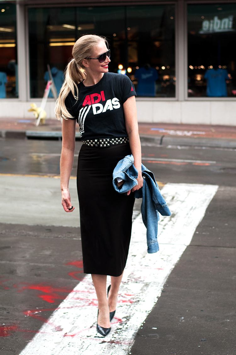 Vintage Adidas T Shirt and Studded Belt