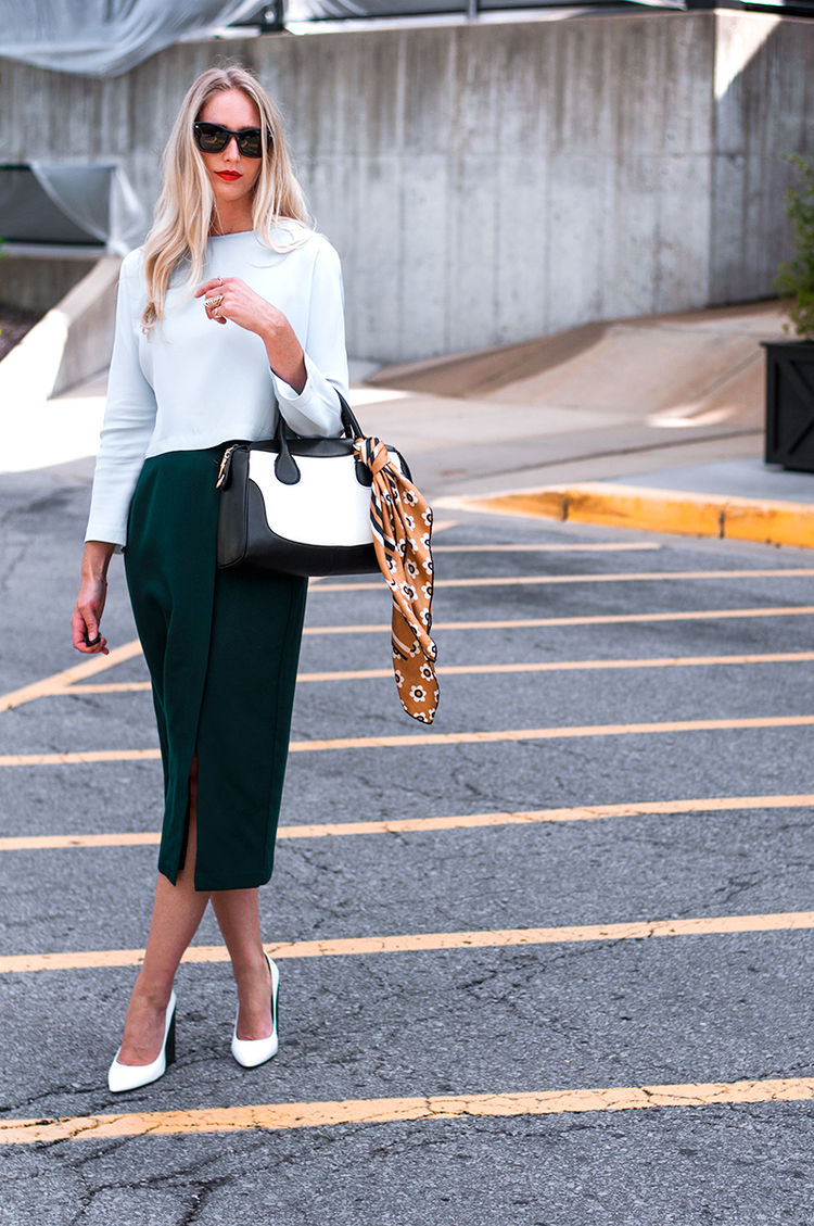 Color Blocked Crop with Pencil Skirt