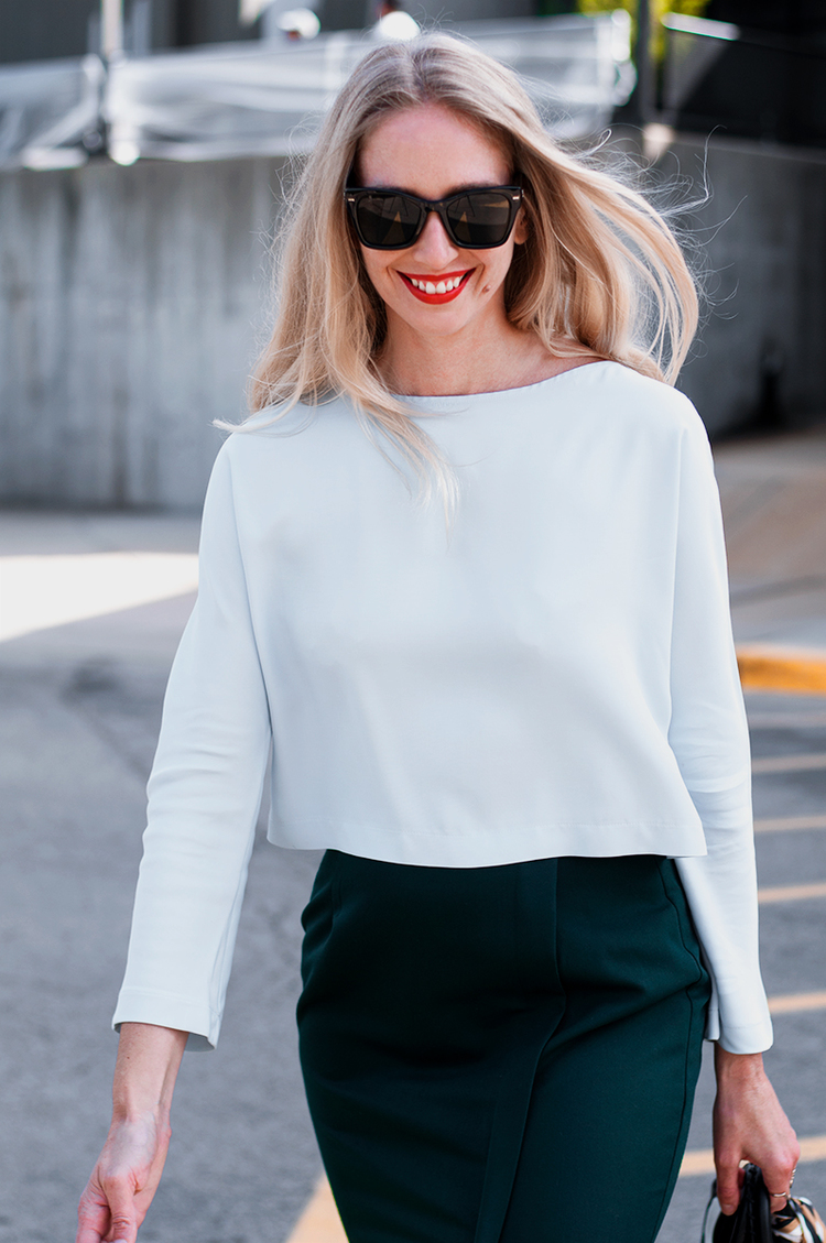 Zara Mint Crop Top with Slit Pencil Skirt