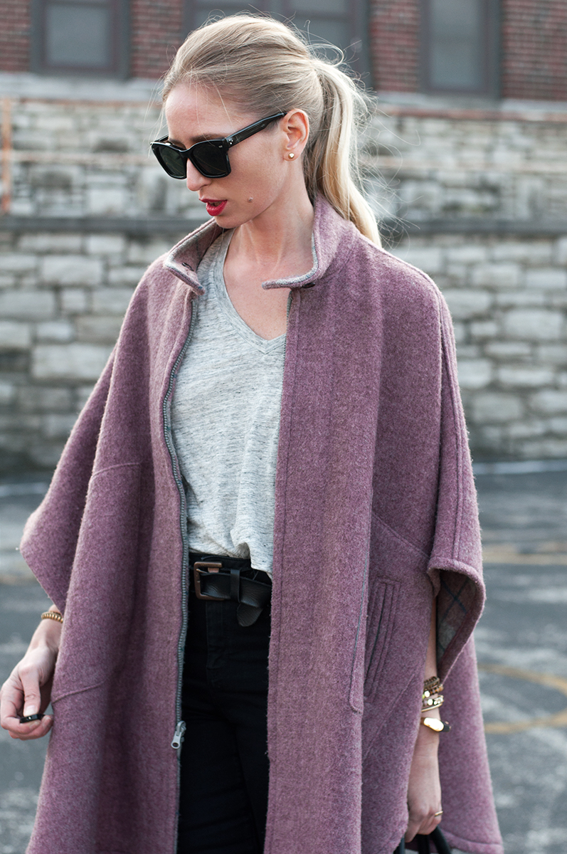 Vintage Poncho with Asos Ridley High Rise Black Jeans