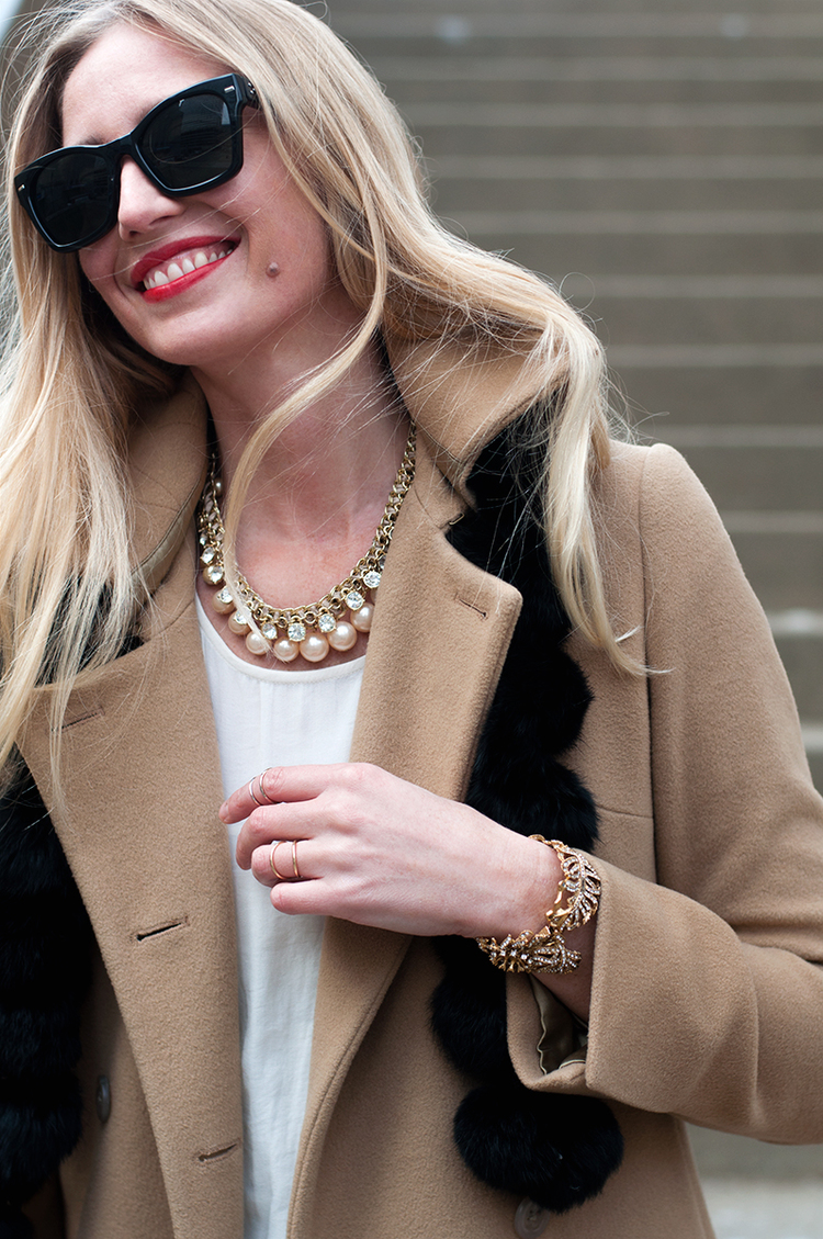 J+Crew+Camel+Top+Coat+and+Pearl+Neacklace