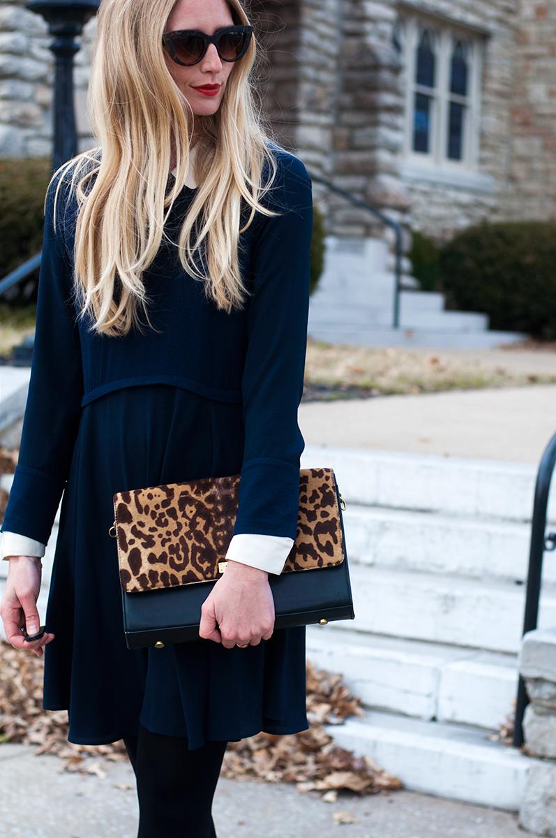 Zara Long Sleeve Flare Dress in Blue