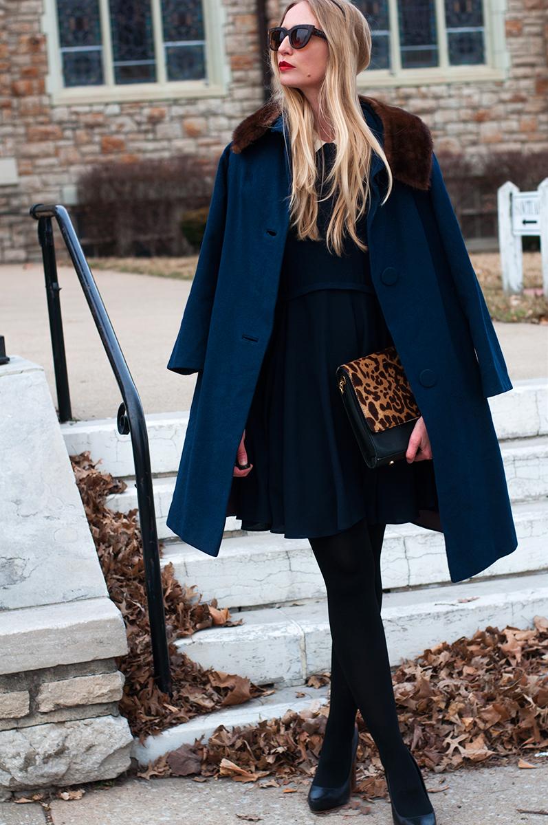 Vintage Navy Blue Wool Coat