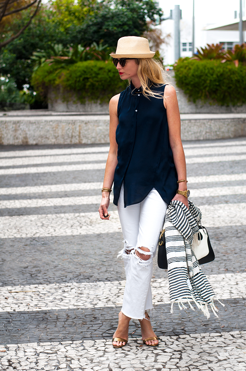 J Crew Sleeveless Silk Blouse and Destructed White Jeans