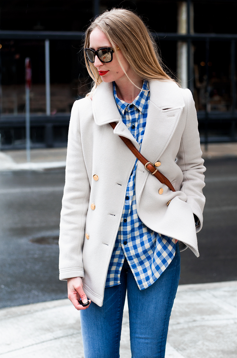 J Crew Majesty Peacoat and Gingham Shirt