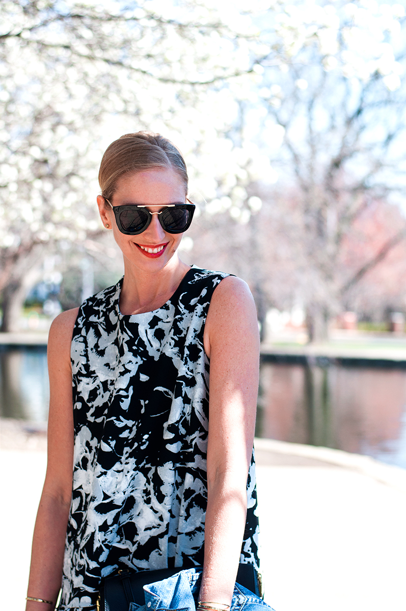 Prada Sunglasses and Floral Swing Dress