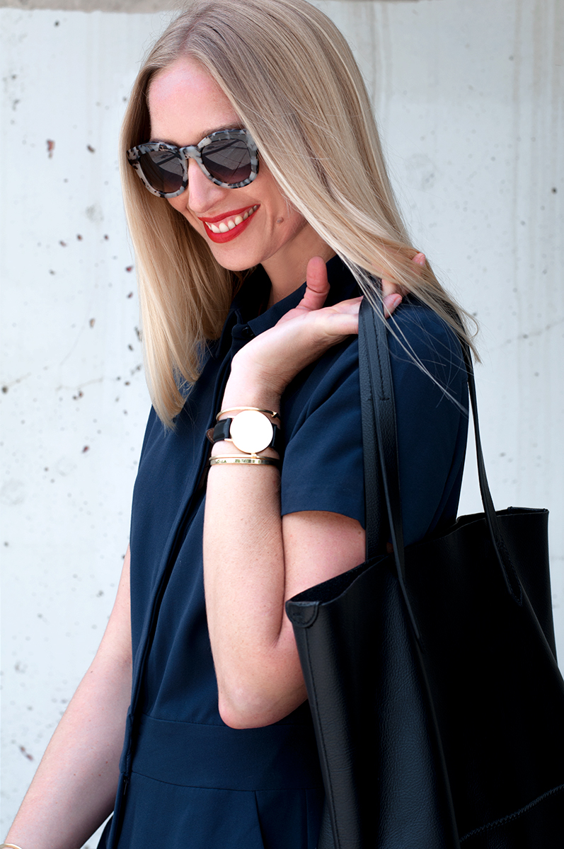 J Crew Downing Tote in Black Leather