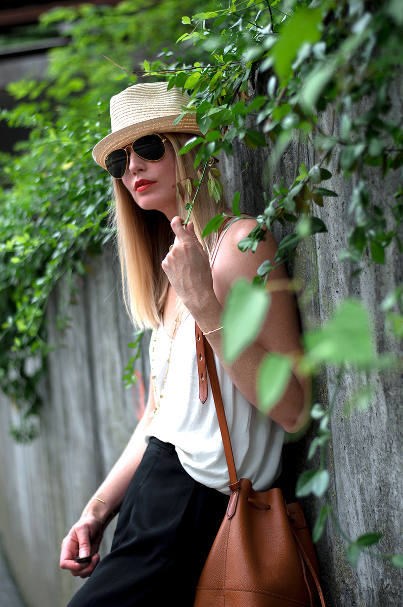 J Crew Downing Bucket Bag and Ray-Ban Aviators