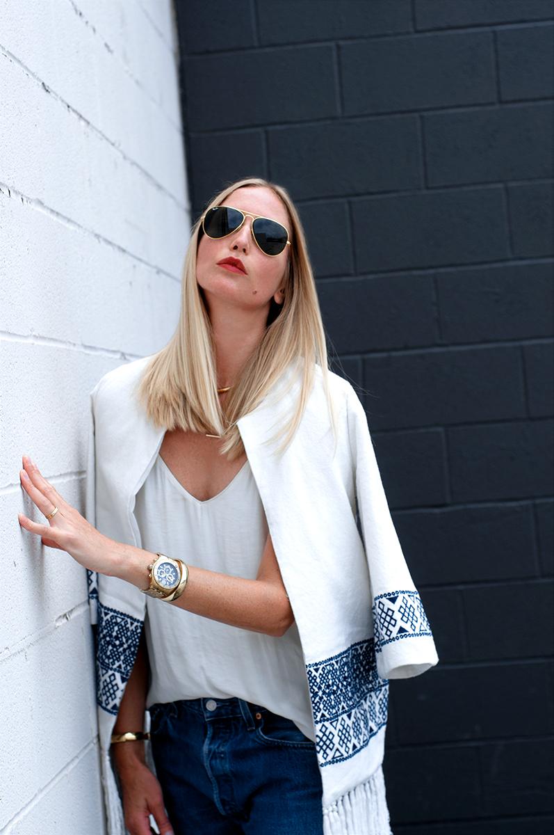 Zara Embroidered Kimono with Tassel Fringe