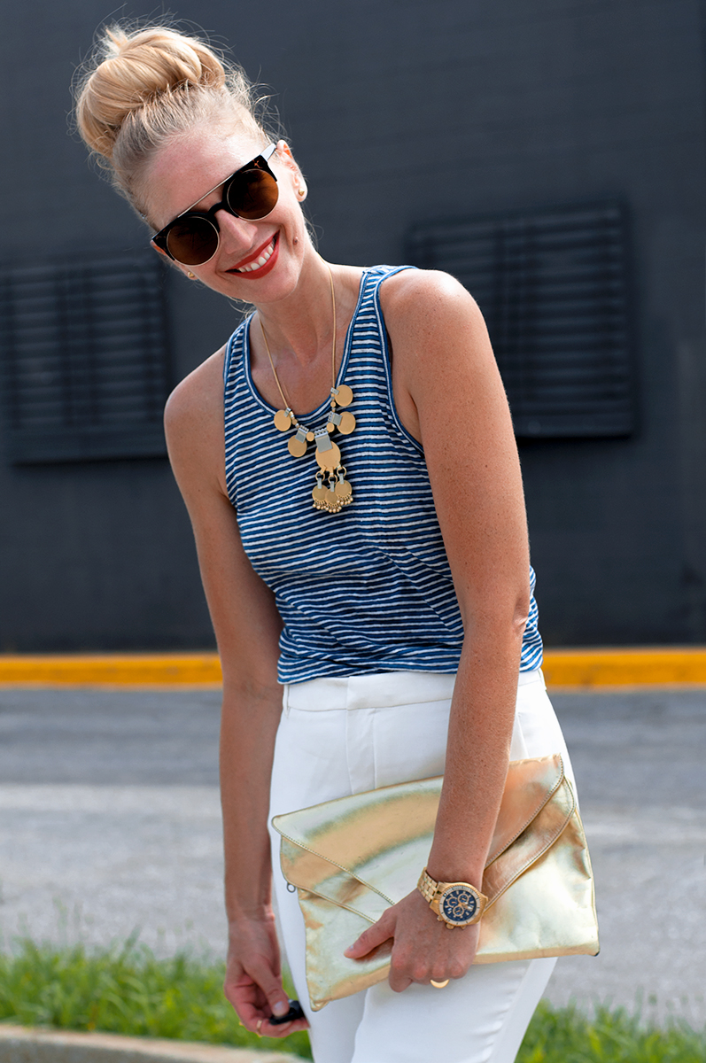 J Crew Striprf Linen Tank Top, Blogger Style Summer 2015