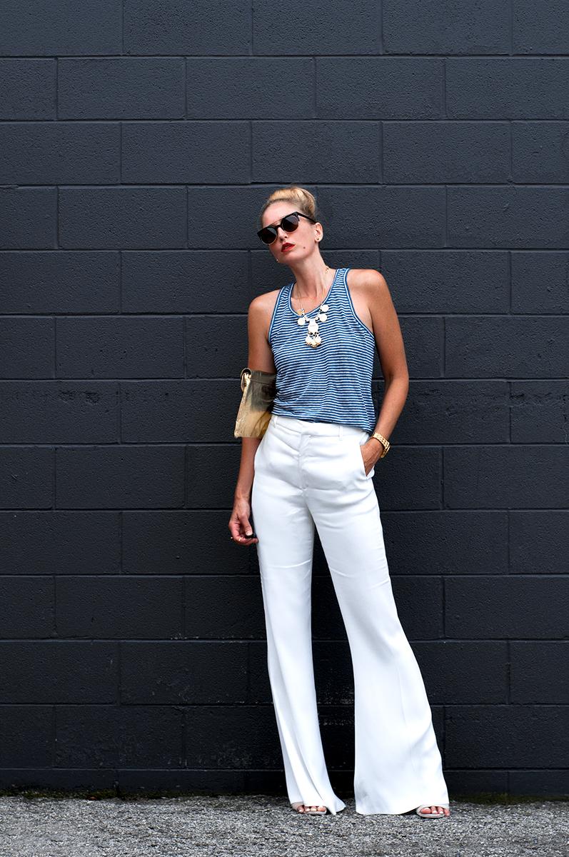 Zara White Flared Trousers & Striped Linen Tank, Blogger Style Summer 2015