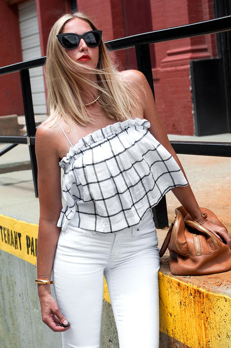 Zara Crop Check Top