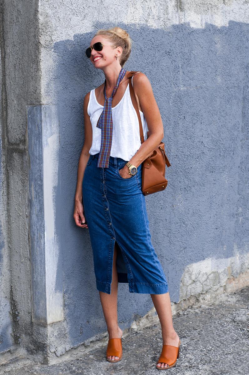 Asos Glamorous Tall Button Through Denim Midi Skirt