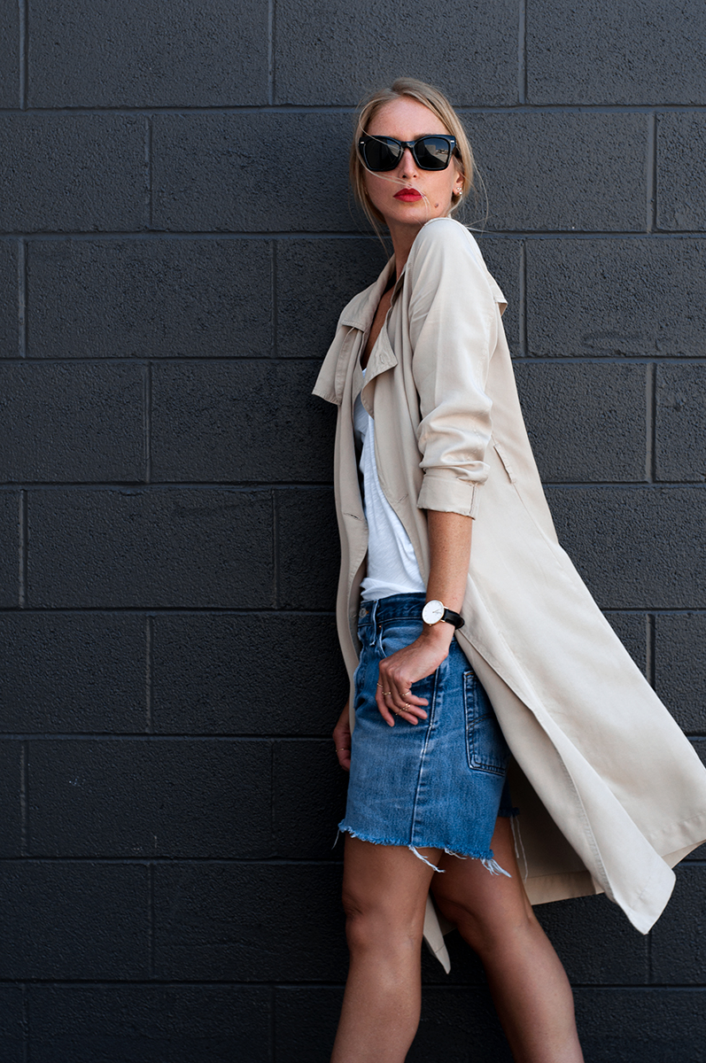 Forever 21 Draped Trench Coat with Vintage Levis