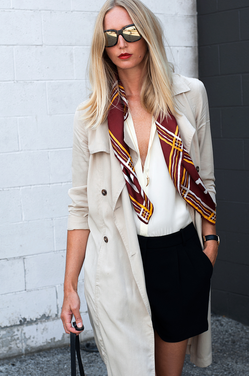 Forever 21 Draped Trench Coat with Vintage 70s Scarf