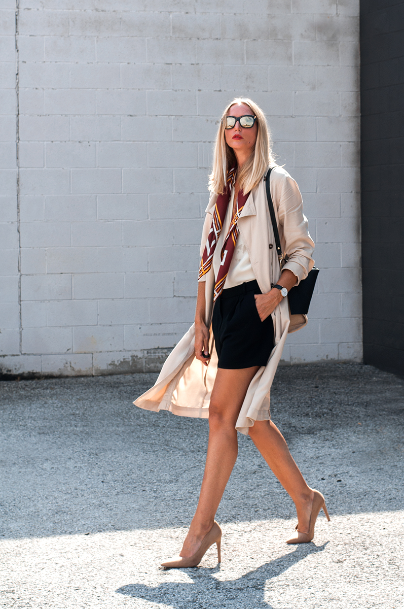 Forever 21 Draped Trench Coat with Nude Pumps