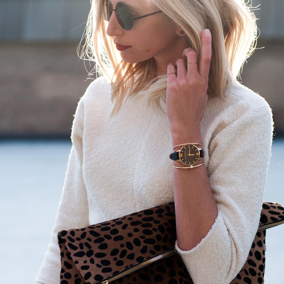 Mod Cloth, Olivia Burton Classic Company Watch in Black and Gold