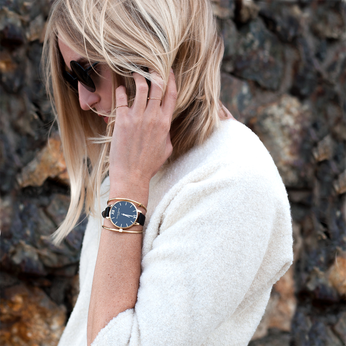 Olivia Burton Classic Company Watch in Black and Gold