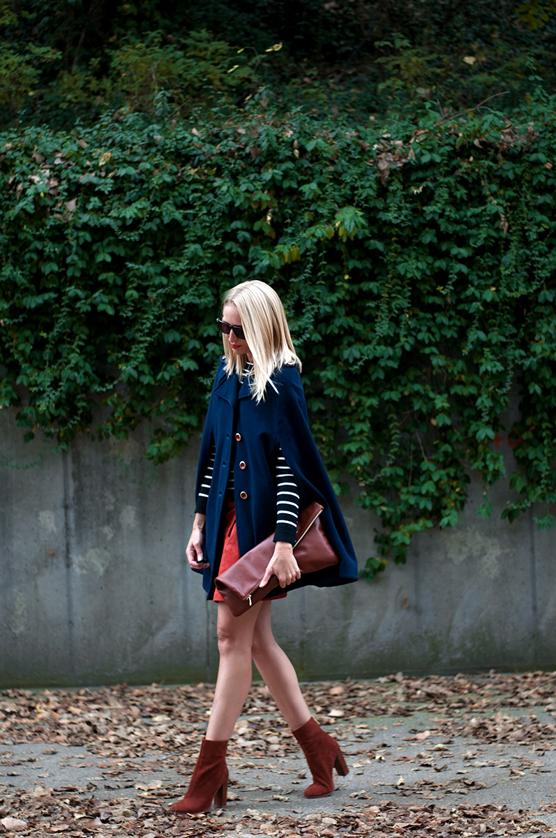 Navy Blue Cape Over Suede, Blogger Style Fall 2015