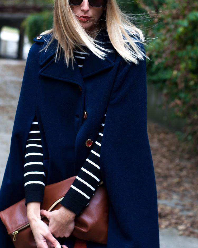 Navy Blue Wool Cape