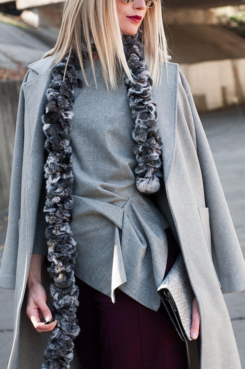 Zara Grey Flannel Peplum Blouse