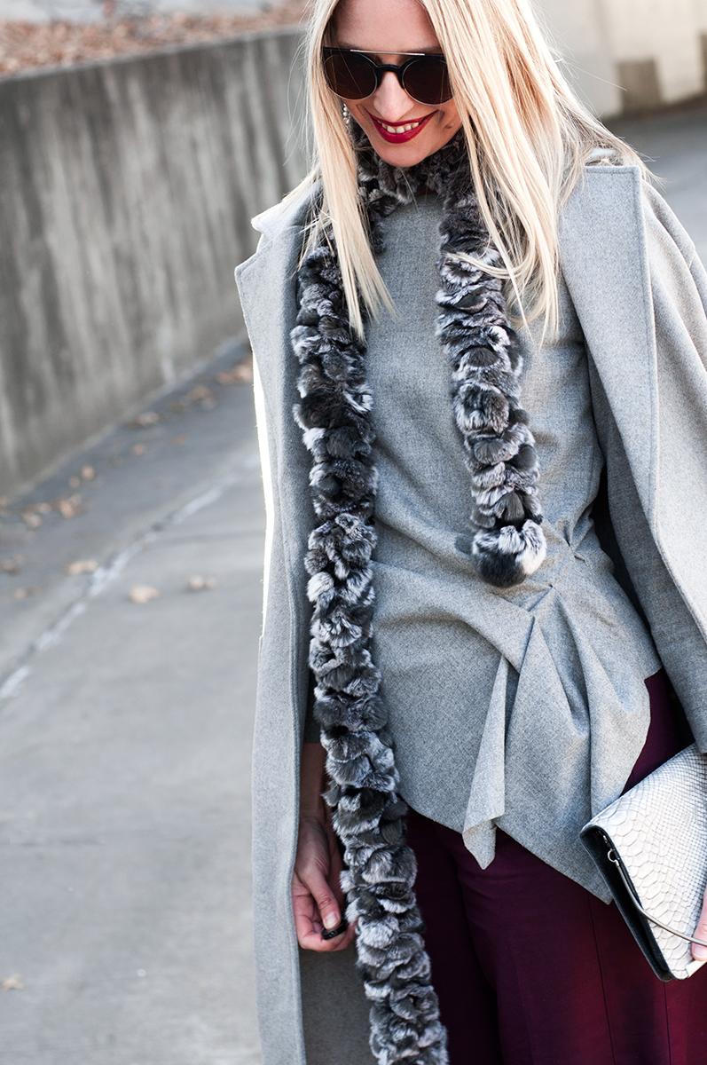 Zara Grey Wool Flannel Peplum Blouse
