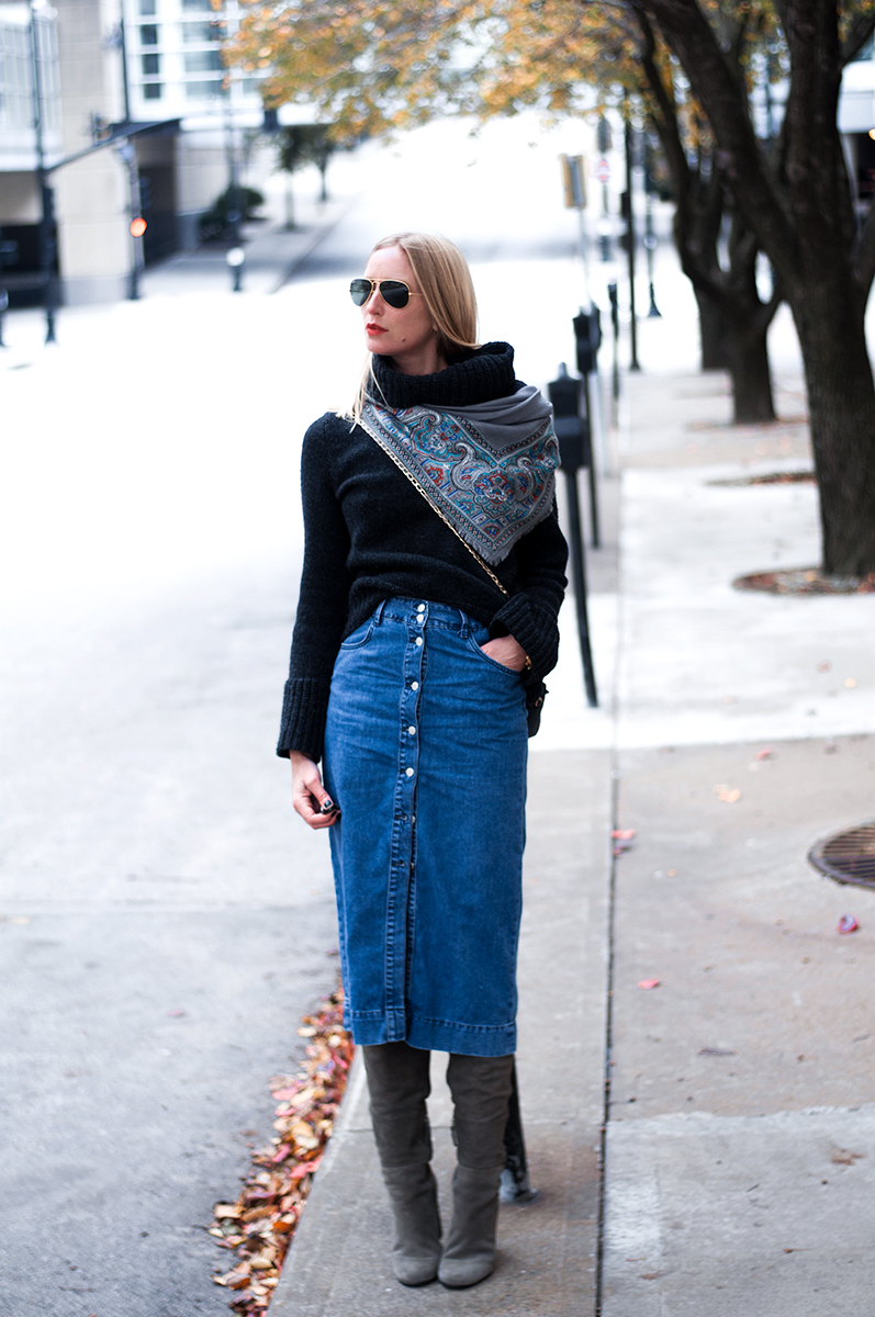Denim Midi Skirt with Over the knee Boots
