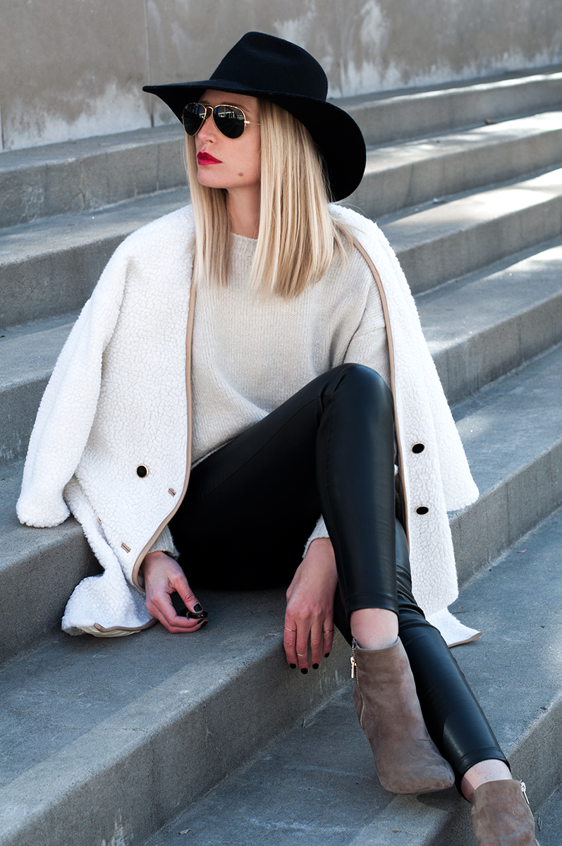 SheIn White Long Sleeve Faux Fur Coat