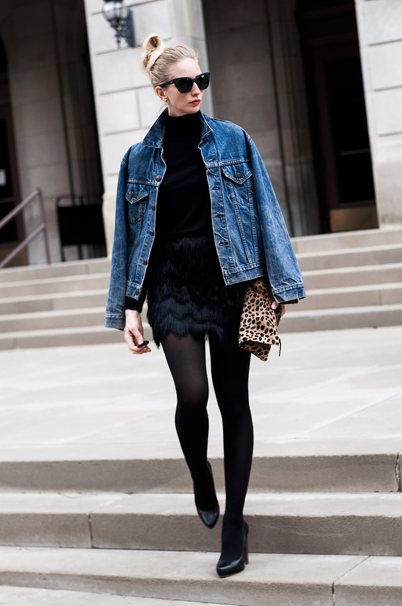 H&M Skirt with Fringe and Clare V. Leopard Clutch