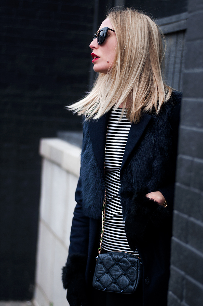 TOPSHOP Longline Coat with Faux Fur Overlay