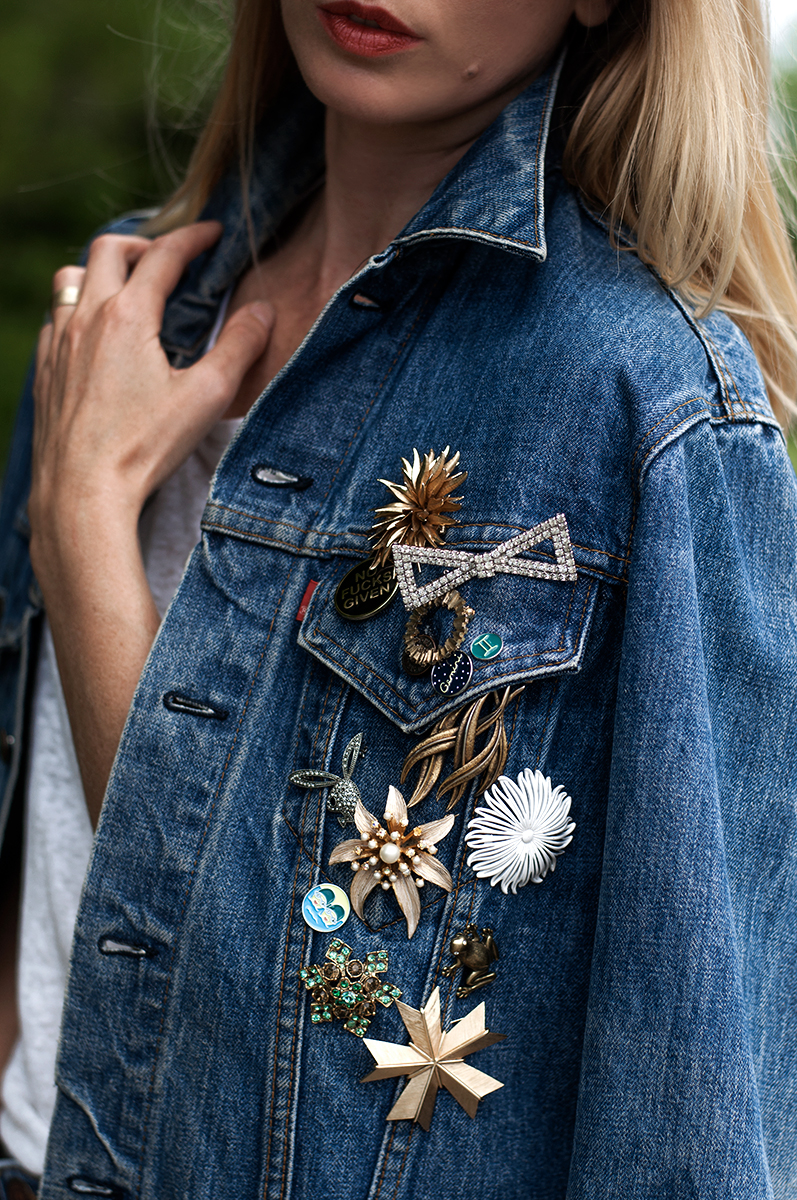 Vintage Brooches and Pins on Levis Trucket Jacker