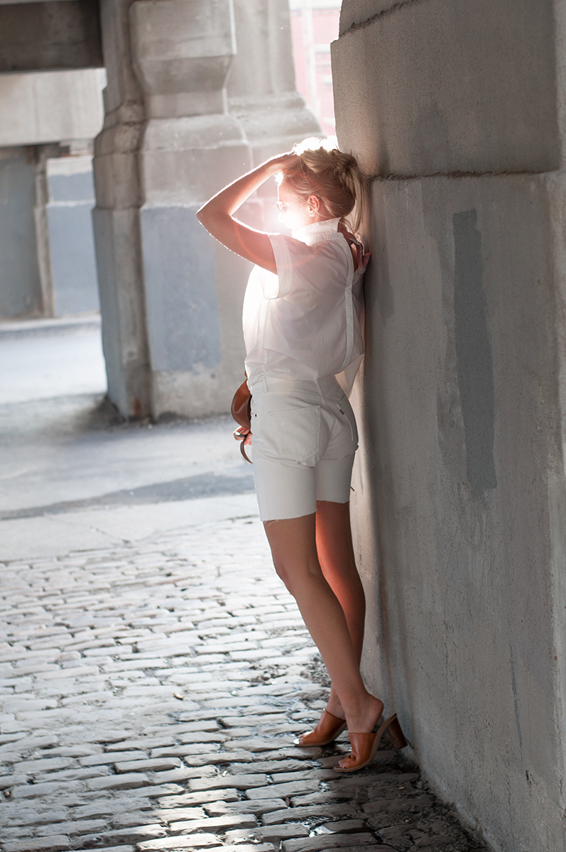 White Levis Bermuda Jeans Short