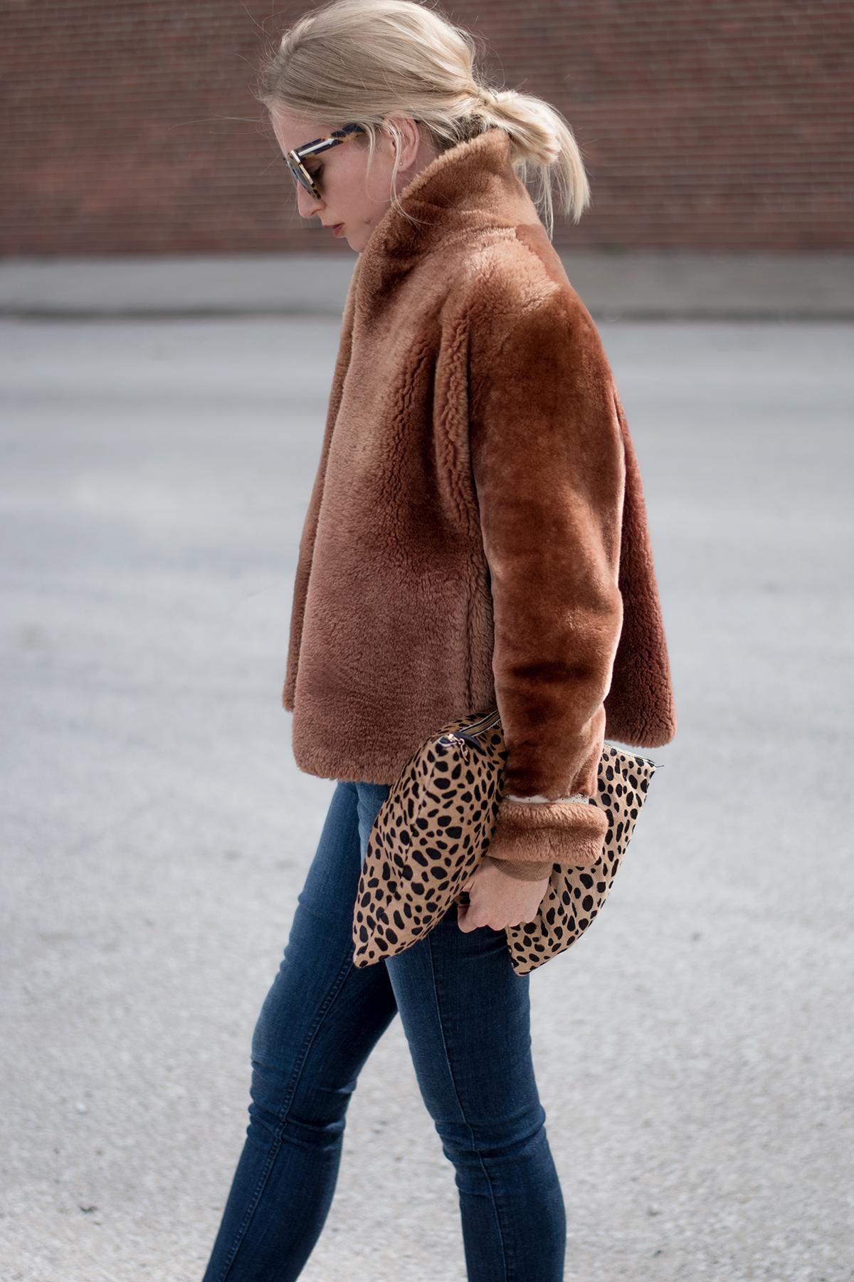 Clare V. Leopard Calf Hair Clutch
