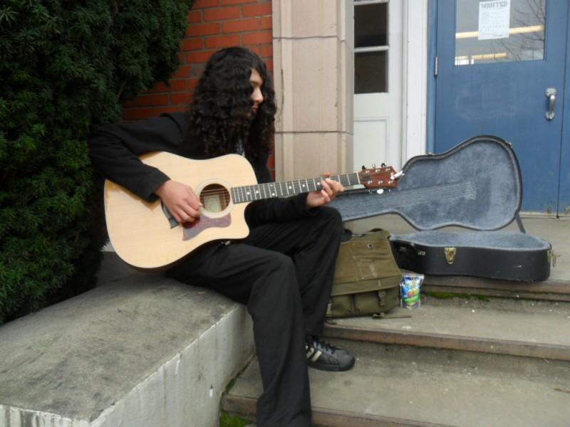 Playing the Guitar During Lunch