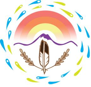 Drawing of a feather and wheat underneath a stylized mountain, surrounded by a circle of water drops.