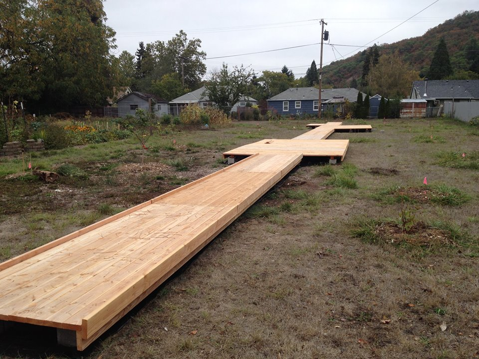 accessible wooden walkway in progress.