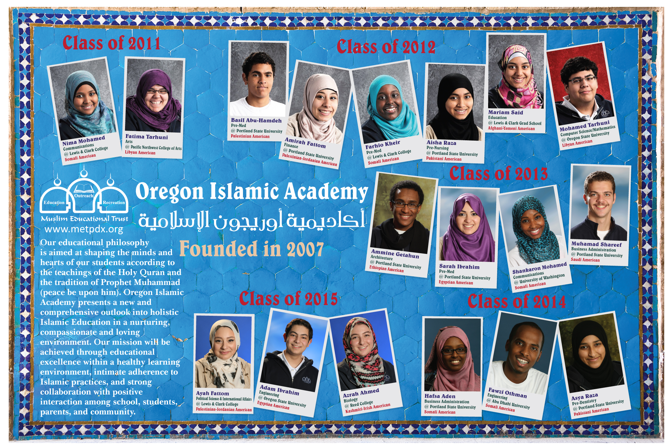 Photos of Oregon Islamic Academy alumni on a bright blue background.