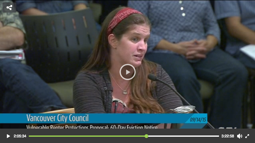 COMMUNITY HEALTH WORKER DOMINIQUE HORN TESTIFYING AT THE SEPTEMBER 14TH, 2015 VANCOUVER CITY COUNCIL MEETING. CLICK ON THE IMAGE AND FAST FORWARD TO 2:05 TO LISTEN TO DOMINIQUE'S POWERFUL TESTIMONY.
